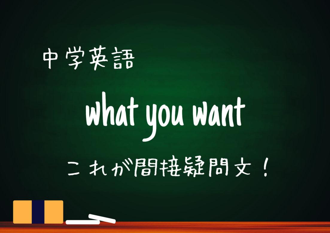 【中学英語】what you want 間接疑問文の用法