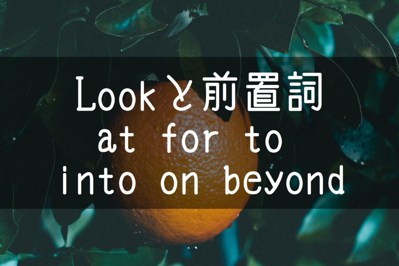 【中学英語】▶︎動詞LOOKと前置詞-at-for-to-into-on-beyond-との組み合わせ